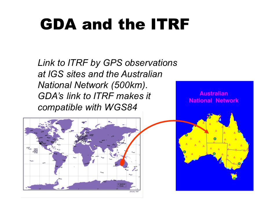 Link to ITRF by GPS observations at IGS sites and the Australian National Network (500km).