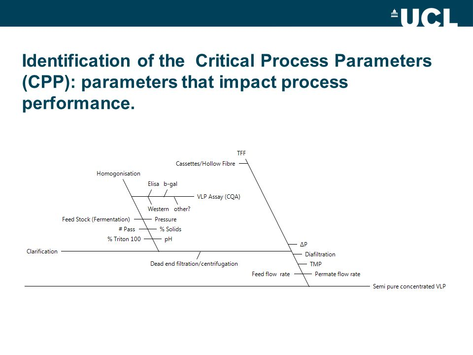 Homogenisation The Lab40 is a validated scale down model to the Manufacturing scale –Use process knowledge and expertise to suggest critical process parameters (CPP): parameter which impact process behaviour (response) or critical product quality attributes (CQA).
