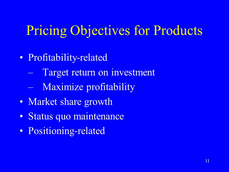 12 Setting Prices Methods: –Demand-based pricing Strong demand  high price Weak demand  low price –Cost-based pricing Breakeven analysis –Breakeven quantity »No.