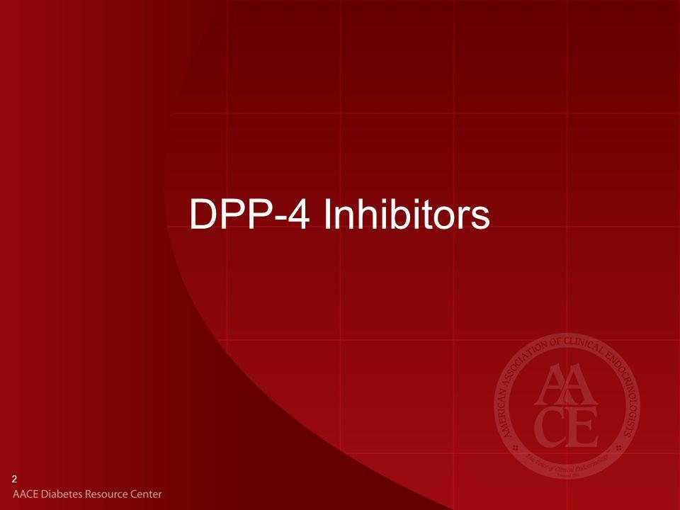 FDA-Approved Agents Alogliptin Linagliptin Saxagliptin Sitagliptin Key Features Oral administration Increase endogenous GLP-1 and GIP levels Increase glucose-dependent insulin secretion Suppress glucagon production DPP-4 Inhibitors 3 DPP-4, dipeptidyl peptidase 4; GIP, glucose-dependent insulinotropic polypeptide; GLP-1, glucagon-like peptide 1.