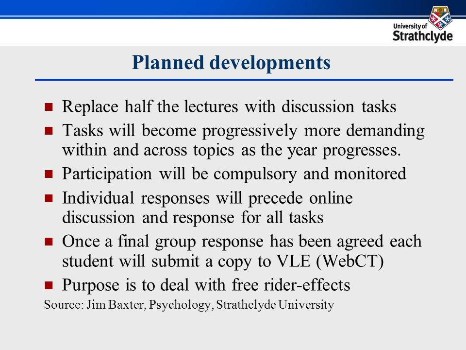 The seven feedback principles Standard format and model answers provide progressive clarification of expectations (clear goals, principle 1) Students encouraged to self-assess against model answer (self-assessment, principle 2) Online peer discussion aimed at reaching consensus about response (dialogue, principle 4) Staged complexity and focus on learning rather marks (motivation, principle 5) Repeated cycle of topics and tasks (closing gap, principle 6) Tutors can monitor progress and adapt (shaping teaching, principle 7)