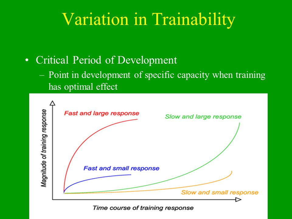 Basic S's of Training and Performance CapacityOptimal Trainability Window Stamina (Endurance) at onset of PHV – aerobic capacity before PHV - aerobic power after growth rate decelerates Strength girls immediately after PHV - boys 12-18 months after PHV Speed Boys – between 7-9 and 13 and 16 Girls – between 6-8 and 11 and 13 Skill Boys – between 9 and 12 Girls – between 8 and 11 Suppleness (Flexibility) Both sexes between 6 and 10 Special attention to flexibility during PHV