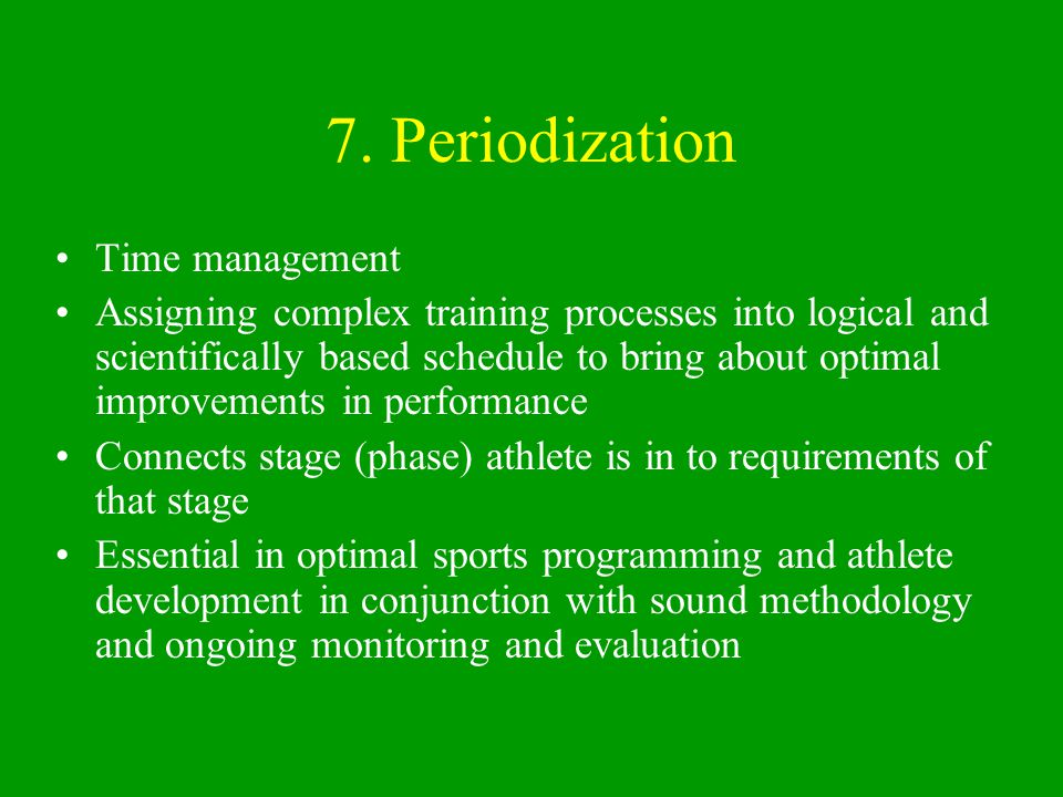 Horizontal and vertical integration of training and performance through periodization