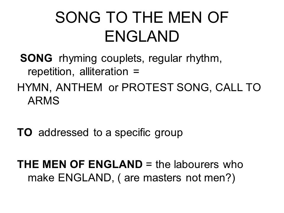 VIEWPOINT System is unjust and England is tainted by the injustice Workers are dehumanised as masters suck their lifeblood Workers should rebel and work only for themselves TONE Mounting anger as poem progresses Bitterness, Rage, Contempt, Frustration