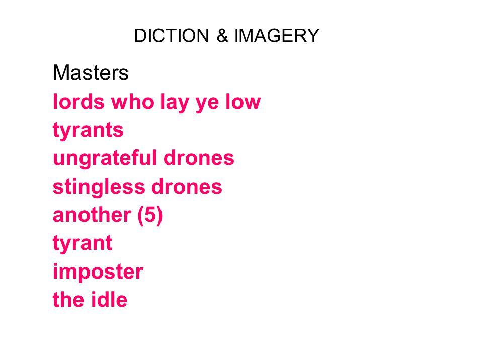 DICTION & IMAGERY semantic fields work profit relaxation violence & warfare death