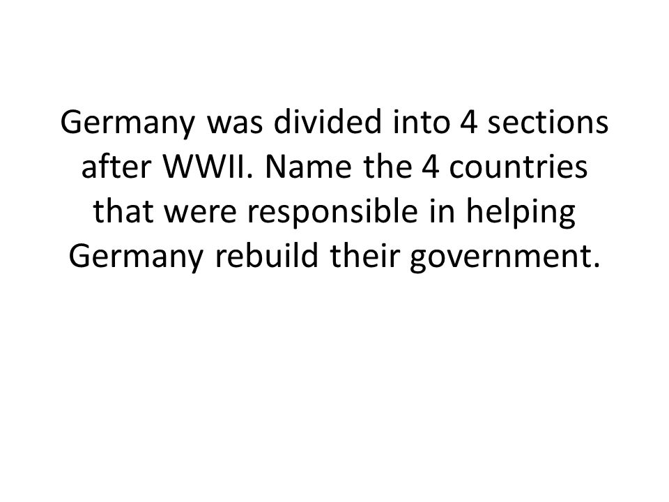 What country(s) controlled East Germany and what type of government was established there?