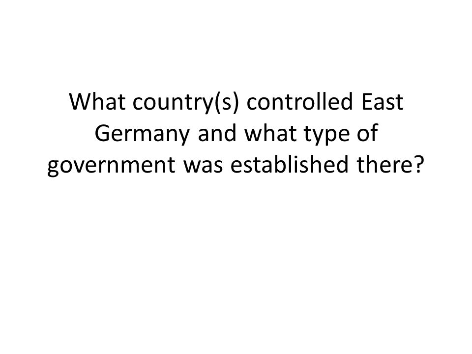 What country(s) controlled West Germany and what type of government was established there?