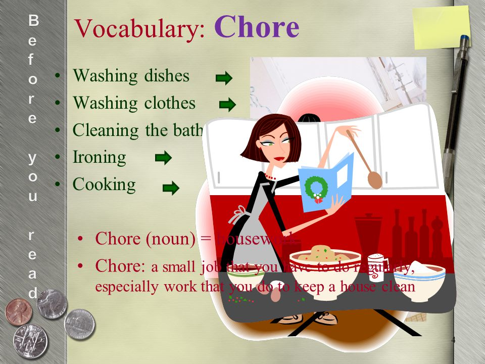 Vocabulary: Household Household = domestic Household (adjective): relating to looking after a house and the people in it E.g.