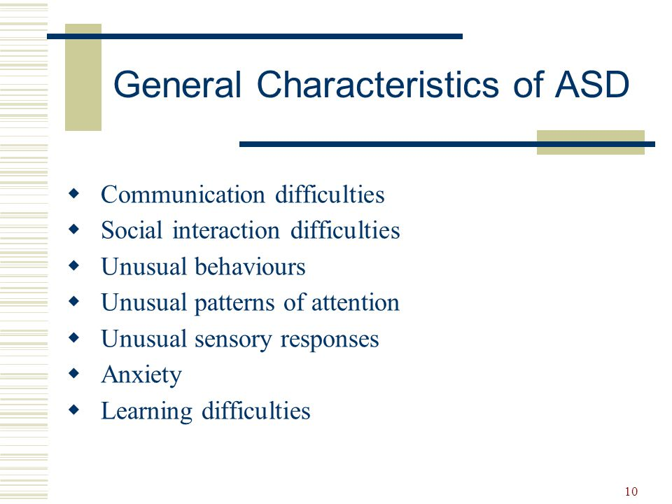 11  Nonverbal communication difficulties  Expressive language delays  Oral language differences  Language use not for social purposes  Echolalia speech  Perseveration on a topic  Restricted vocabulary  Difficulty with conversations  Comprehension difficulties Communication
