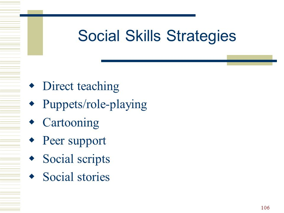 107  Decide what social skill needs to be taught.