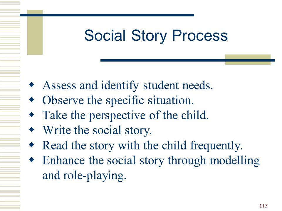 114  Descriptive sentences  Directive sentences  Perspective sentence  Formula for writing social stories 2–5 descriptive or perspective statements + 1 directive statement Writing Social Stories