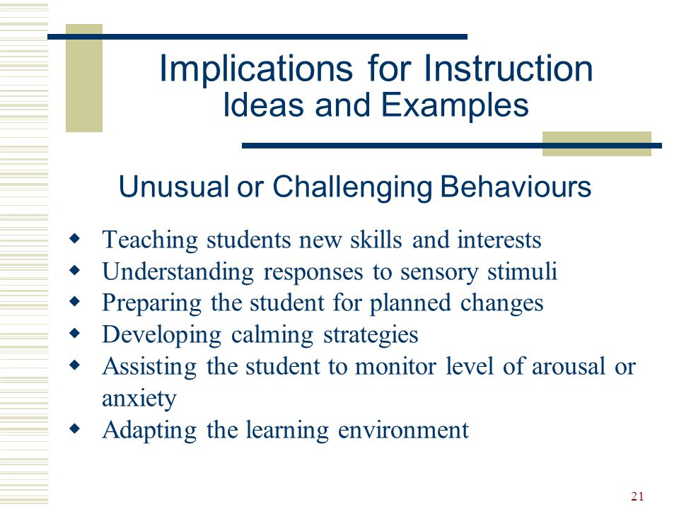 22 Implications for Instruction Ideas and Examples  is clear and concise  is consistent with comprehension level  focuses their attention  emphasizes the most relevant information Patterns of Attention Information and instructional activities should be provided in a format that: