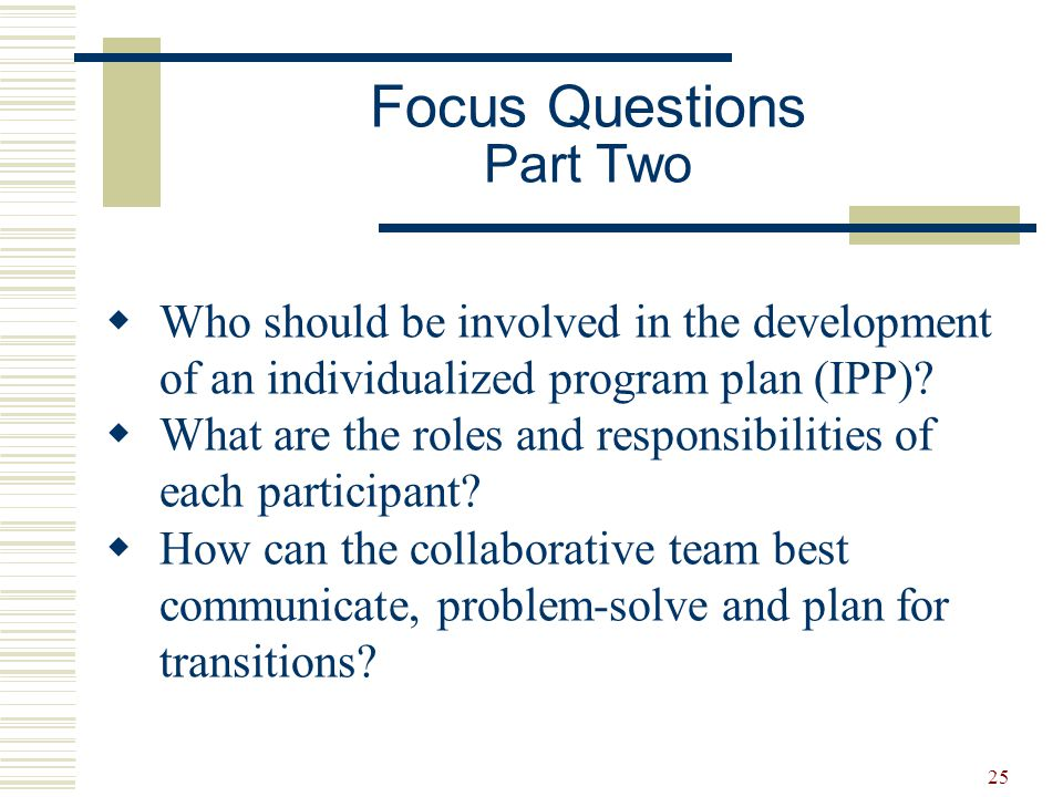 26 Individualized Program Plan Process 1.Gathering information 2.Setting the direction for the IPP 3.Developing the IPP 4.Implementing the IPP 5.Reviewing the IPP
