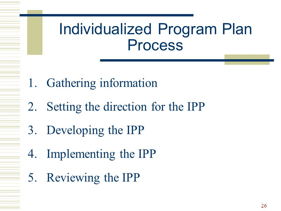 27  Personal and educational data  Strengths and needs  Long-term goals  Short-term objectives  Strategies and accommodations  Transition plans  Resources  How progress will be evaluated  Assignment of responsibility  Process for review and evaluation Components of Effective IPPs