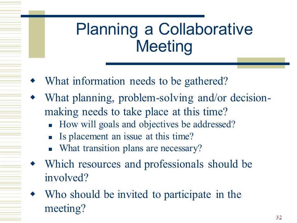 33  Introduction of participants  Purpose of the meeting  Sharing new information What's working Concerns/issues  Brainstorming  Planning Who What When  Review date Develop an Agenda
