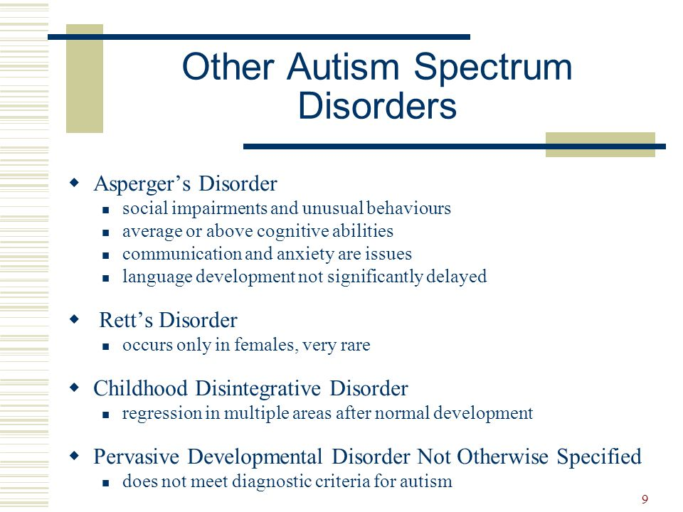 10 General Characteristics of ASD  Communication difficulties  Social interaction difficulties  Unusual behaviours  Unusual patterns of attention  Unusual sensory responses  Anxiety  Learning difficulties