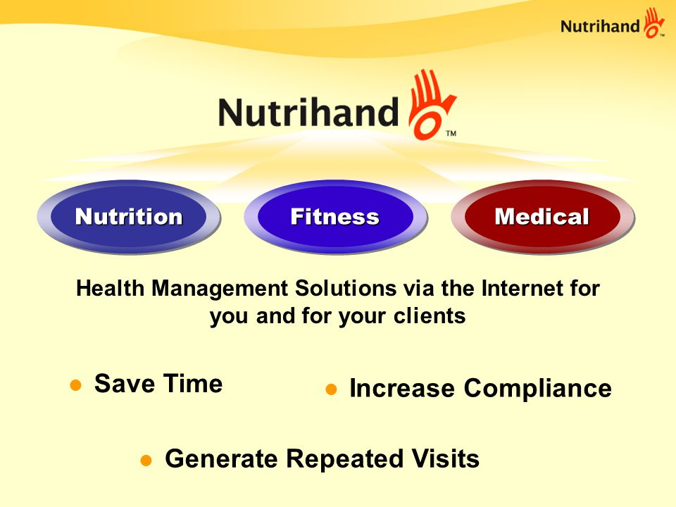 Nutrihand Pro is for you Plan, Analyze, Monitor and Report Meals, exercises and medical vitals