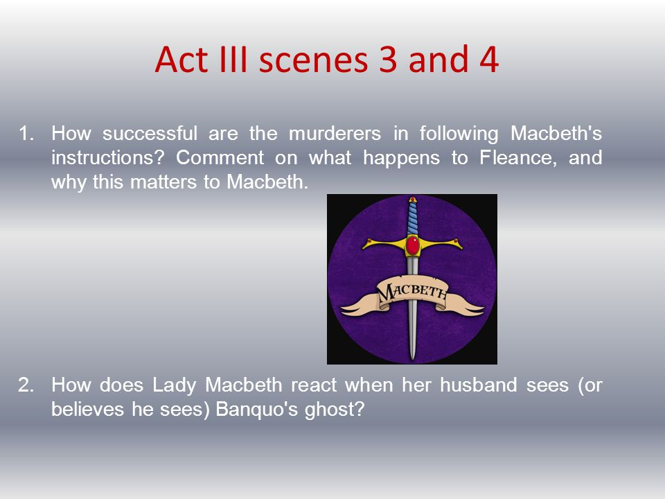 Homework for Tuesday night Read Act III scenes 5 and 6.