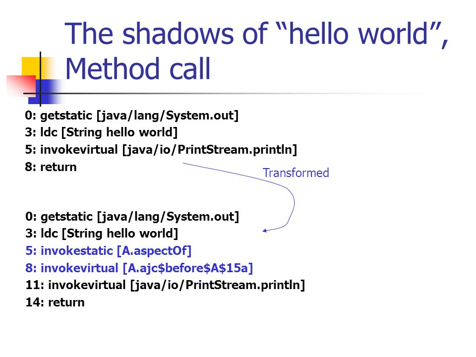 The shadows of hello world , Exposing method call - cont.