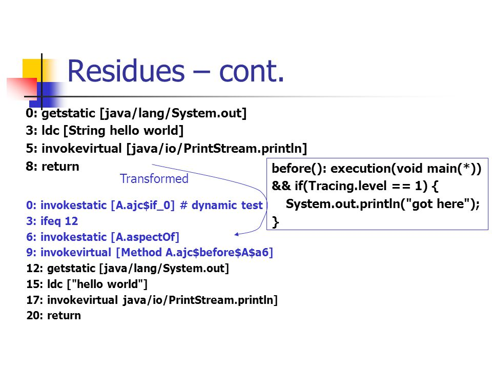 Residues, Cflow – cont.