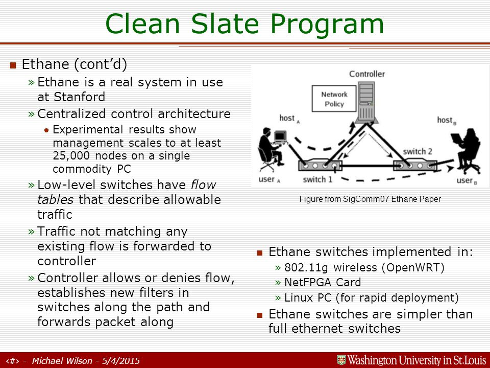 15 - Michael Wilson - 5/4/2015 Clean Slate Program Rate Control Protocol (RCP) Motivation: Current congestion control is inefficient for shorter flows »90% of flows never leave Slow Start »STCP/FastTCP/XCP are inefficient for today's typical flow (1000 packets) RCP – Processor Sharing for rate control »Packets carry rate estimates »Each router estimates number of flows »If fair rate is less than current rate seen in packet, overwrite it »Performs well in tests Published in numerous conferences, including SigComm CCR 06, Hotnets-IV, International Workshop on QoS (IWQoS05), Infocom06 workshop The Terabits Challenge , and Dr.
