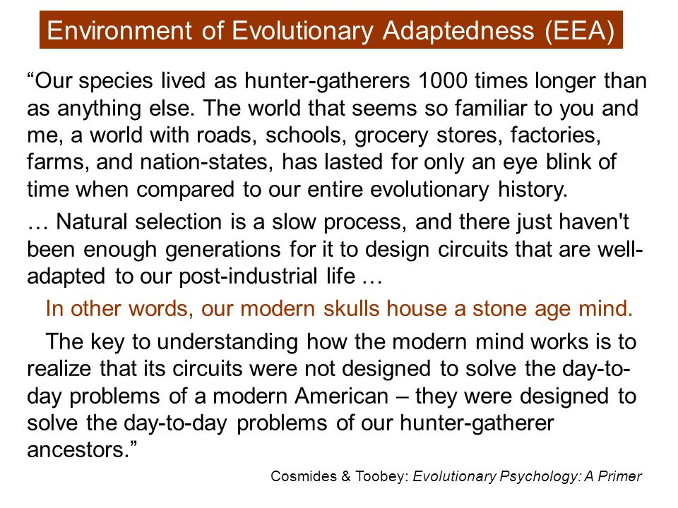 Evolutionary psychology is relentlessly past-oriented.