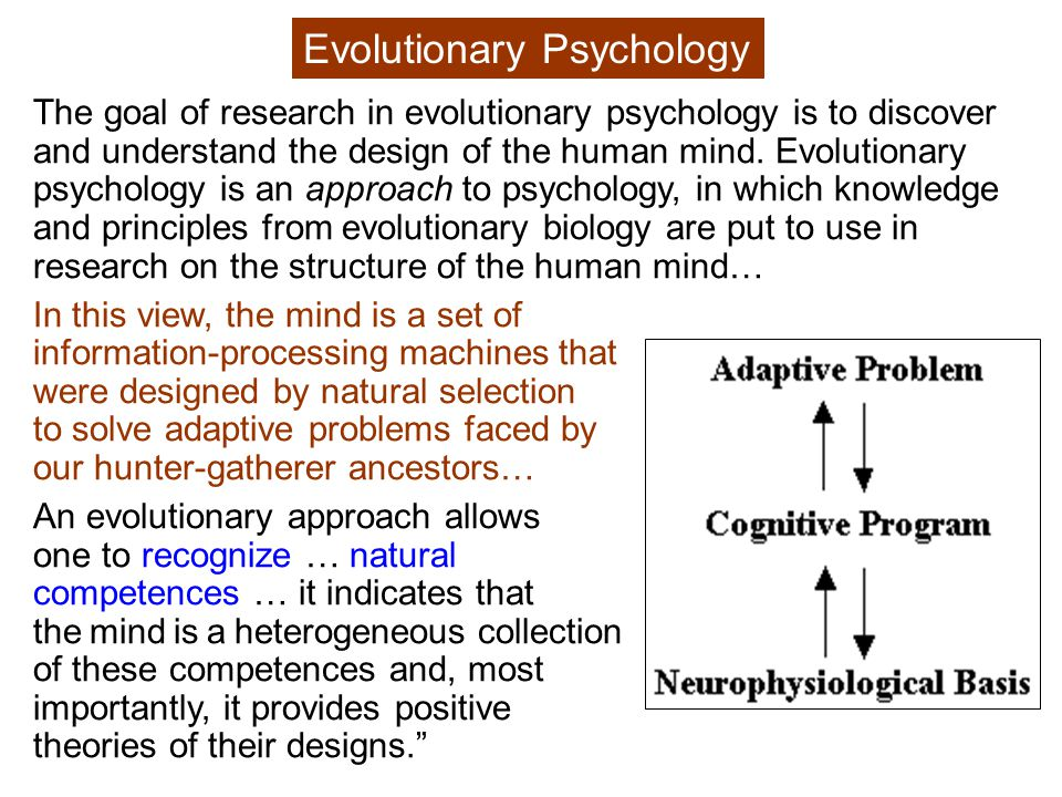 Darwin (1860): In the distant future … Psychology will be based on a new foundation , i.e., evolution.