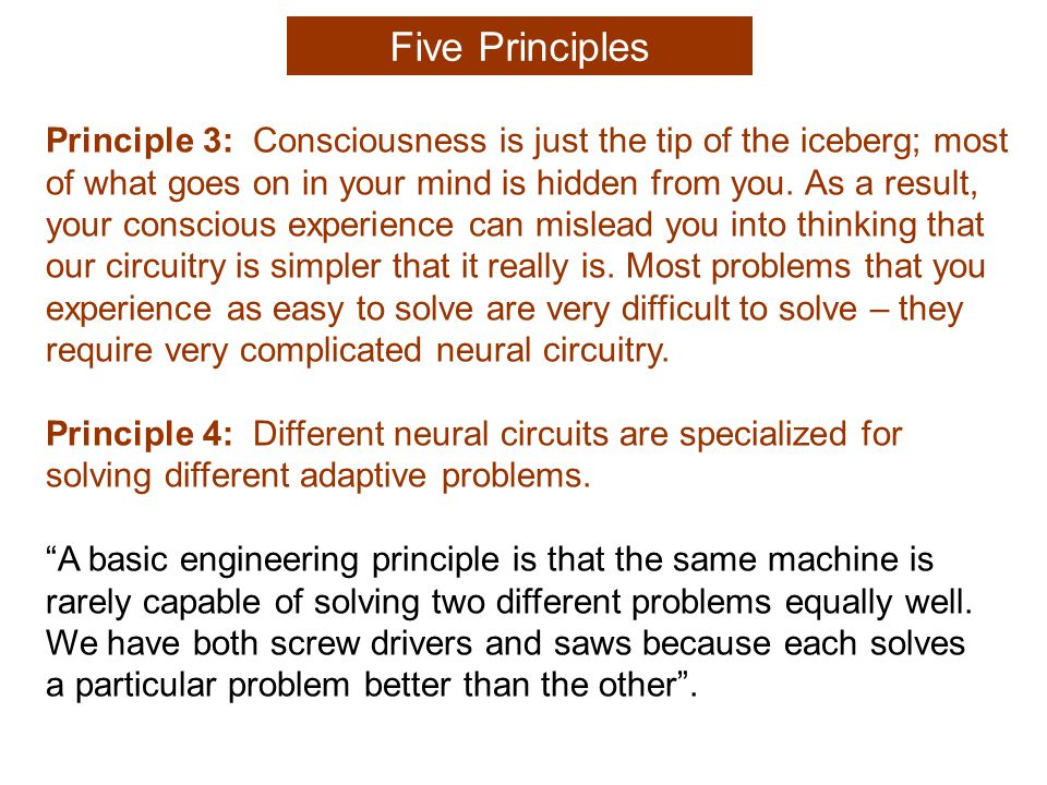 Principle 4: Different neural circuits are specialized for solving different adaptive problems.