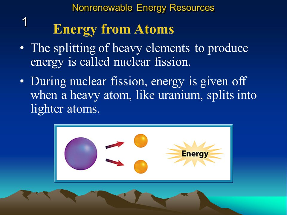 The splitting of heavy elements to produce energy is called nuclear fission.