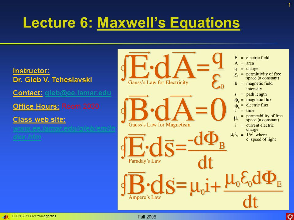 ELEN 3371 Electromagnetics Fall 2008 2 Maxwell's equations The behavior of electric and magnetic waves can be fully described by a set of four equations (which we have learned already).