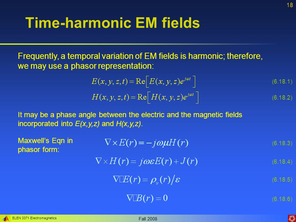ELEN 3371 Electromagnetics Fall 2008 19 Time-harmonic EM fields Power is a real quantity and, keeping in mind that: Since complex conjugate Therefore: Taking the time average, we obtain the average power as: (6.19.1) (6.19.2) (6.19.3) (6.19.4)
