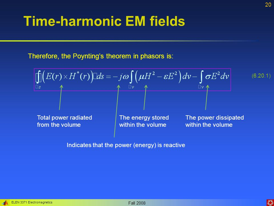 ELEN 3371 Electromagnetics Fall 2008 21 Time-harmonic EM fields Example 6.6: Compute the frequency at which the conduction current equals the displacement current in copper.