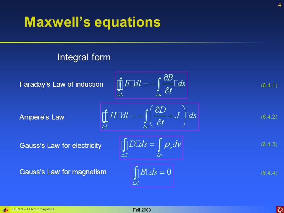 ELEN 3371 Electromagnetics Fall 2008 5 Maxwell's equations Example 6.1: In a conductive material we may assume that the conductive current density is much greater than the displacement current density.