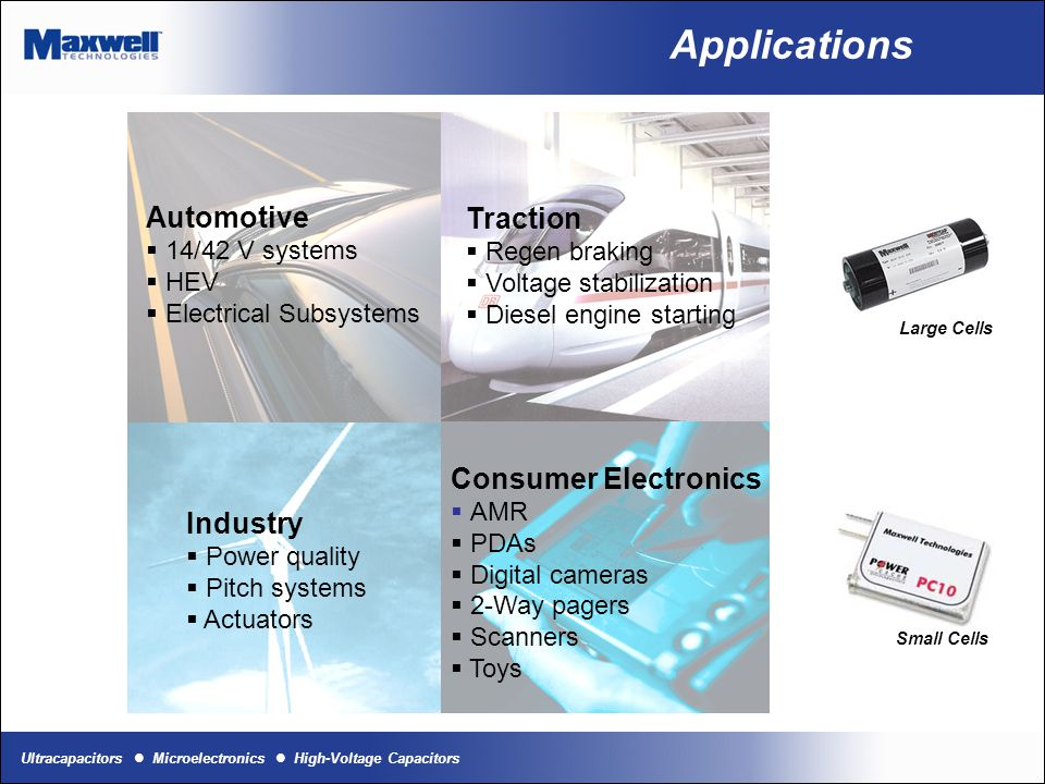 Ultracapacitors Microelectronics High-Voltage Capacitors Electric Rail Pack Braking Energy Recapture Diesel engine starting Today's Markets Wind power plant pitch systems Burst power Small cell applications Digital cameras, AMR, Actuators, Memory boards TRACTIONINDUSTRYCONSUMER
