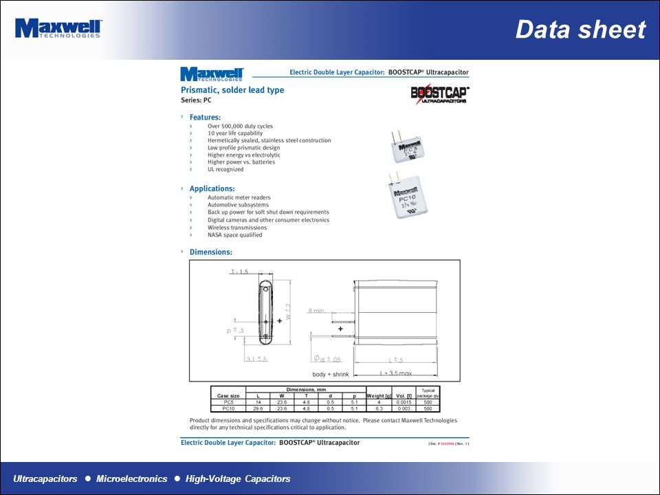 Ultracapacitors Microelectronics High-Voltage Capacitors Data sheet