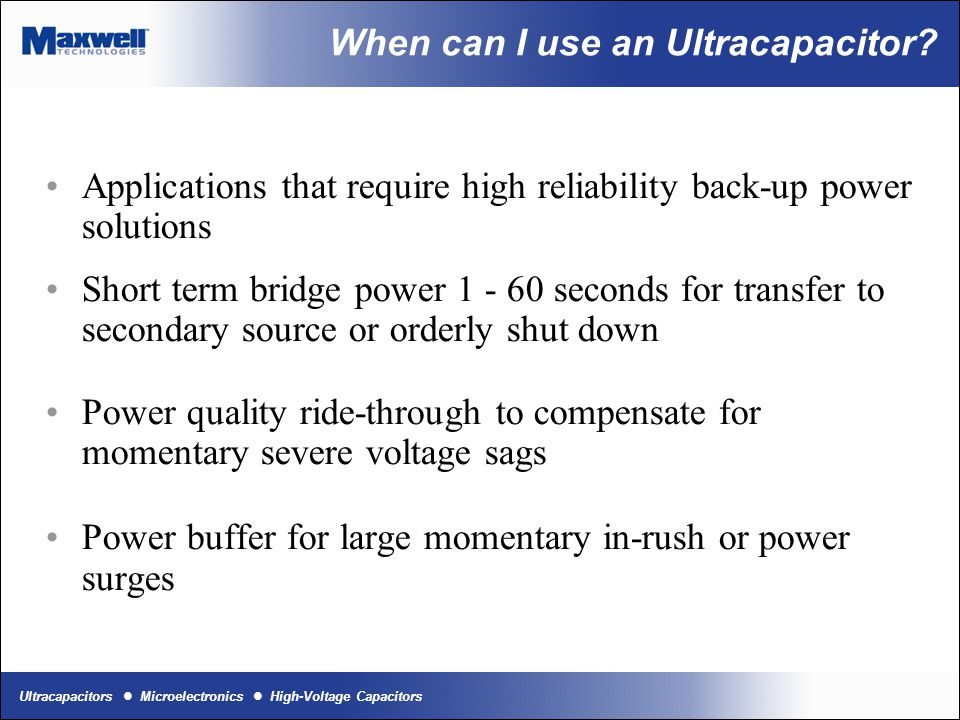 Ultracapacitors Microelectronics High-Voltage Capacitors Power vs Energy What is the difference between Power and Energy?