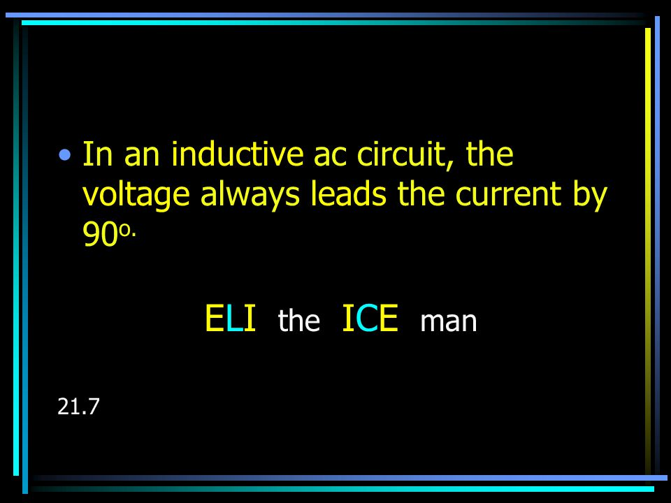 ELI the ICE man Three important relationships: –The instantaneous voltage across the resistor is in phase with the instantaneous current.