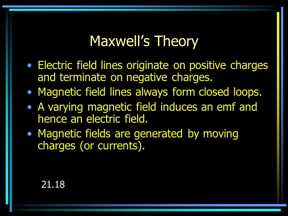 Maxwell's Hypothesis A changing electric field should produce a magnetic field.