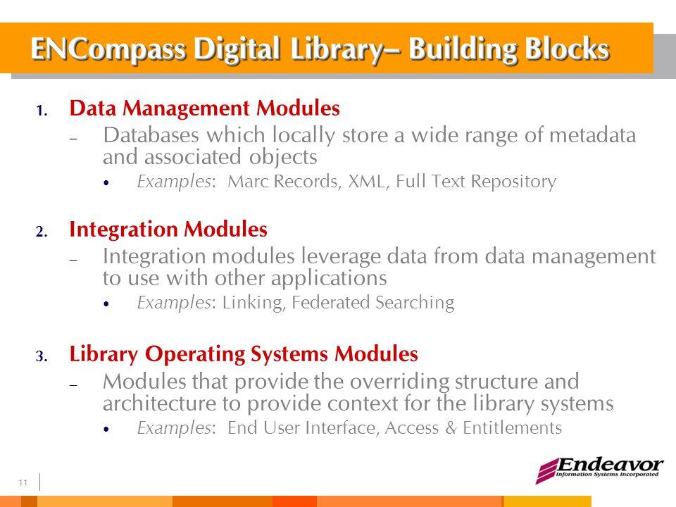 12 ENCompass Framework 框架 Library Operating Systems Modules 图书馆操作系统模块 Remote Resources 远程资源 Data Management Modules 数据管理模块 Integration Modules 合成模块