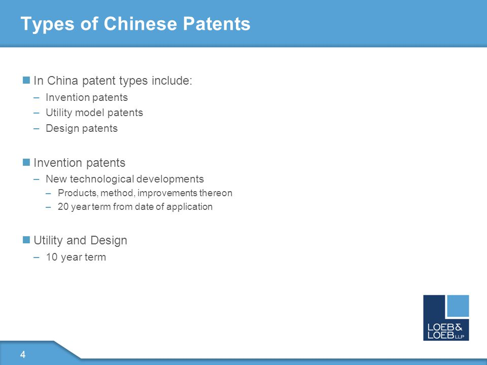 5 Types of US Patents US Utility patents – 20 years from date of application and encompass: –Machines –Human made products –Compositions of matter –Processing methods US Design – 14 years from date of application