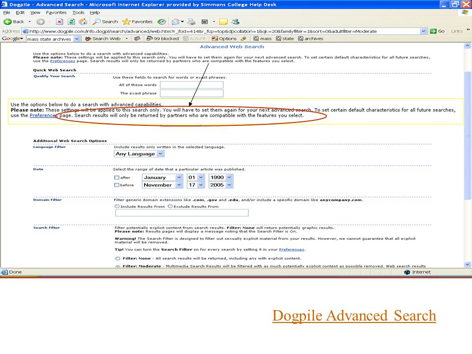DogpileDogpile Advanced Search vs. Google Advanced SearchGoogle