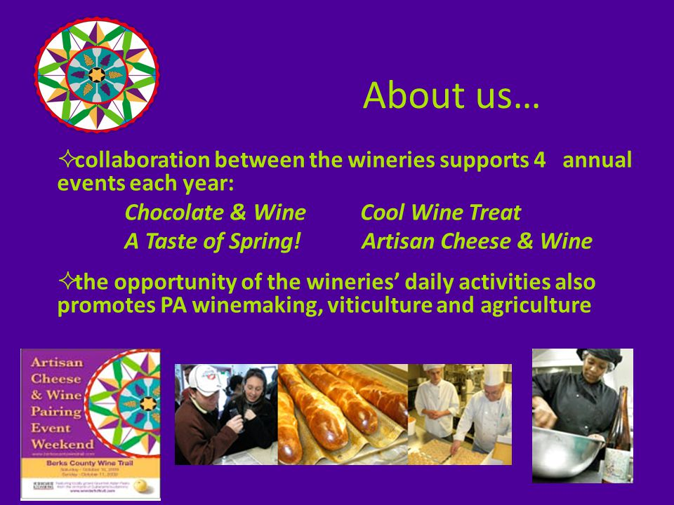  each of us loves wine, winemaking and agriculture  we each enjoy sharing this passion with the public who stops by to experience a taste of Berks County  we love it when they not only buy a bottle for themselves but buy one for a friend or loved one who doesn't know yet that great wines are made here Why we do it…