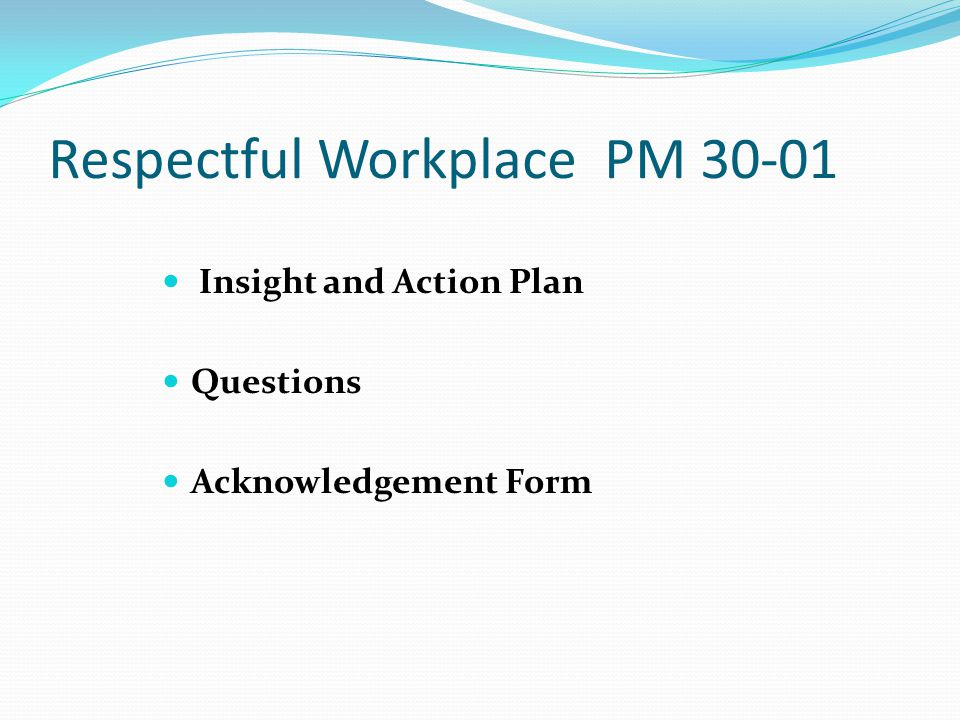 Respectful Workplace PM 30-01 Evaluations Certificates RESPECT Bookmark