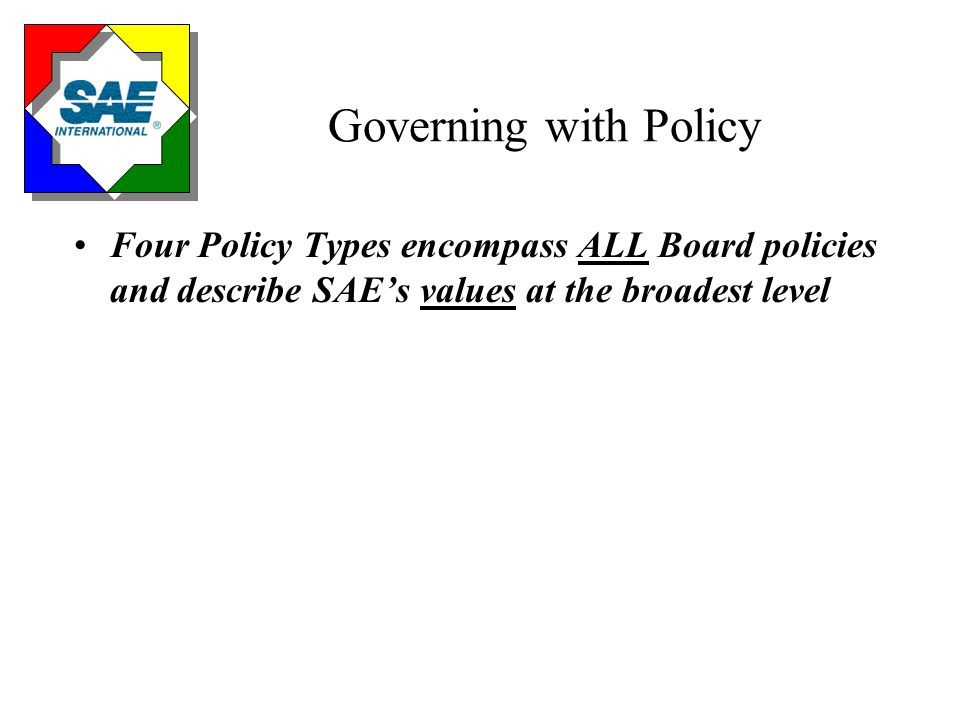 Four Policy Types Board Leadership Governance Process RelationshipsLimitations Vision & Objectives