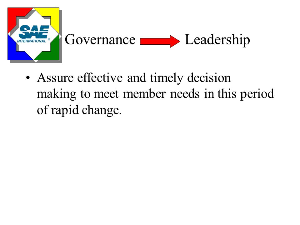 The Board's Governance Process Is owned by the Board Provides the Board with a leadership process that: –Assures Board meets its responsibility to members –Requires Board to set direction and policies of SAE –Empowers operating boards, committees, and staff to function within those policies –Expects Board not to do operating board, committee, or staff work Allows SAE to meet changing needs of customers in a timely manner