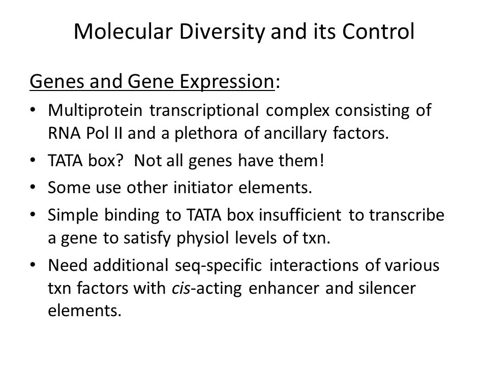 Molecular Diversity and its Control Genes and Gene Expression: Much evidence for the role of silencing in neurons acting at 2 levels: 1.Global silencing of neuronal genes in non-neuronal cell types.