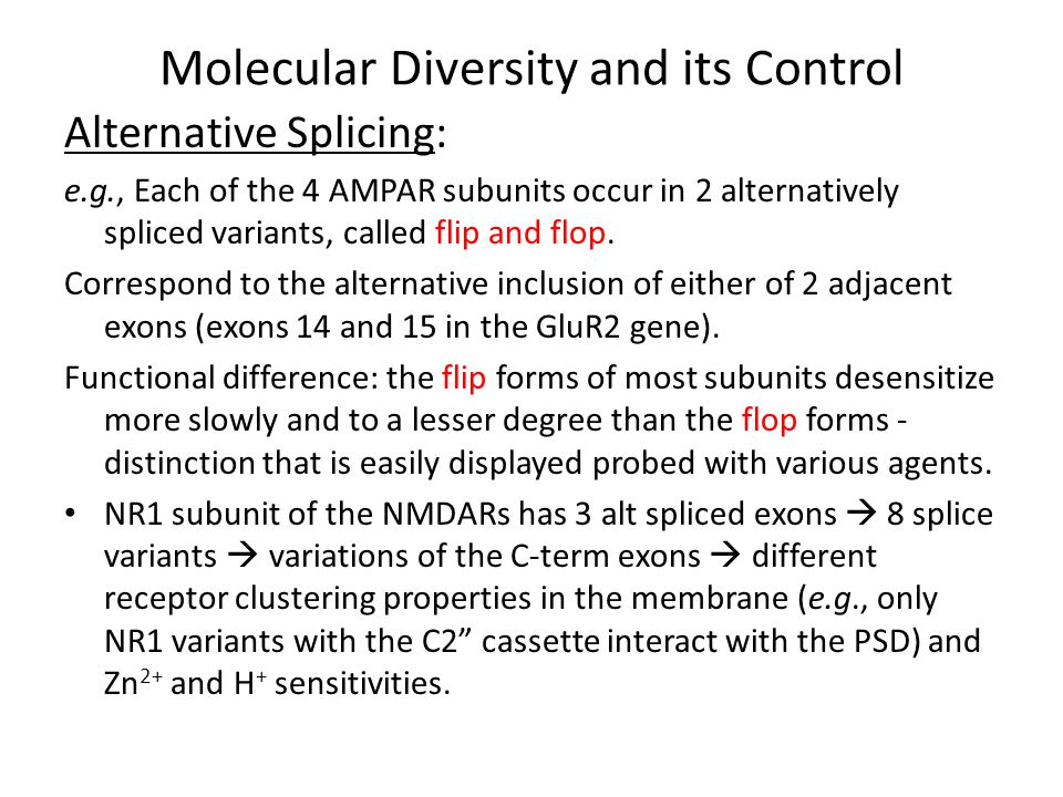 Molecular Diversity and its Control RNA Editing: As ----  oxidative deaminated  inosine Inosine bp like G  Δ the codon  different aa in the translated protein.
