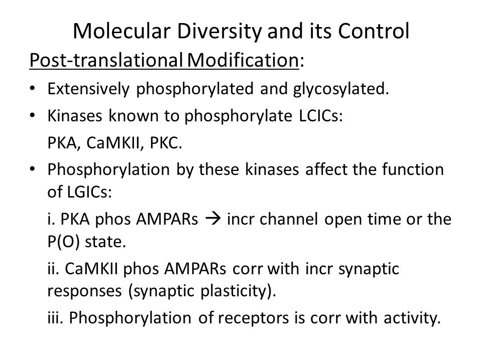 Molecular Diversity and its Control Post-translational Modification: Phosphorylation (and dephosphorylation) efficiency dependent on proximity to of LGICs to kinases and phosphatases in the high-[protein] milieu.