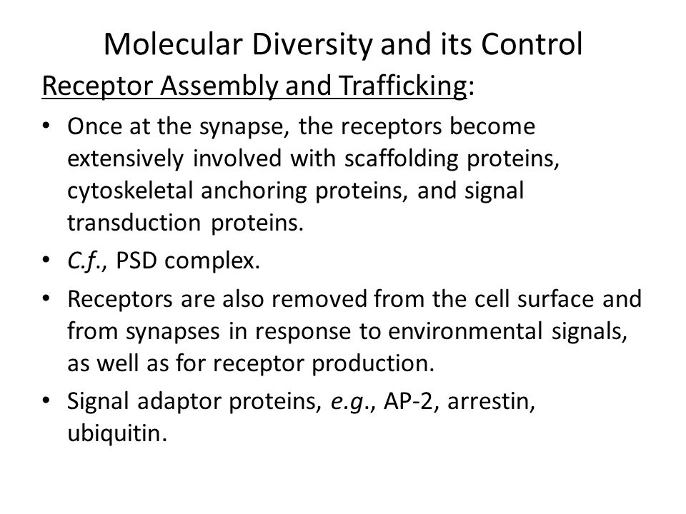 Molecular Diversity and its Control Receptor Assembly and Trafficking: Clathrin recruitment -> membrane invagination, endocytosis  early endosomes  recycled to plasma membrane or delivered to late endosomes for sorting  recycled via trans-Golgi to plasma membrane or to lysosomes for degradation.