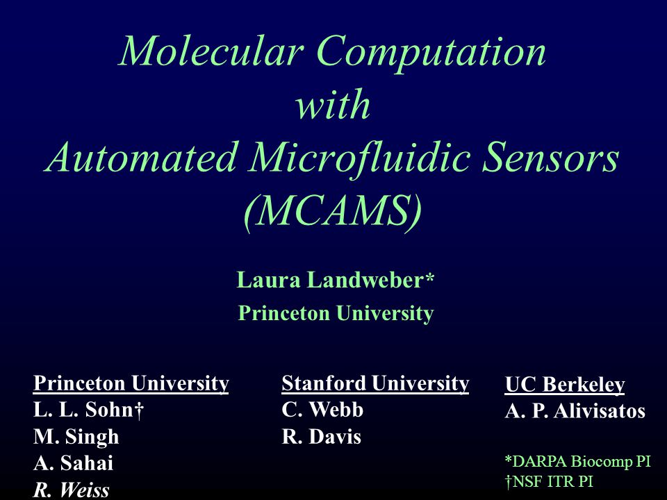 Molecular Computation with Automated Microfluidic Sensors (MCAMS) Accelerate the field of molecular-based computing by increasing sensitivity and throughput and enabling hands-free molecular computation.